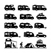 picture of car symbol  - Rv cars Recreational Vehicles Camper Vans Caravans Icons  - JPG