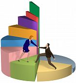 picture of pie-chart  - A business woman gives a helping hand to a businessman up chart steps to success - JPG