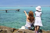 Mother Ans Daughter Tourist Formentera Turquoise poster
