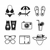 pic of tent  - Set of vector monochrome beach vacations icons like bikini lounger tent slippers photo camera cocktail sunglasses hat and melting in flat style - JPG