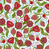 picture of bohemian  - Seamless Bohemian Pomegranate Floral Pattern - JPG