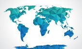 stock photo of polygon  - Blue polygonal world map vector on grey - JPG