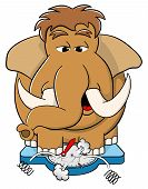 stock photo of mammoth  - vector illustration of a overweight mammoth standing on scales - JPG