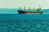 foto of sail ship  - The ship sails Bosphorus on sunny autumn day - JPG