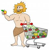 pic of caveman  - vector illustration of a caveman with shopping cart filled with fruit and vegetables - JPG