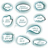 stock photo of bubble sheet  - Set of chat bubbles with motivational and positive thinking messages - JPG