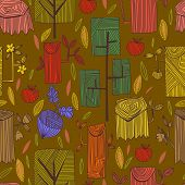 foto of acorn  - Graphic spring concept background in vector apples hemp and acorn - JPG