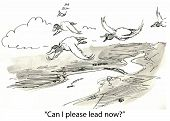 picture of geese flying  - Cartoon of geese flying and second one asks - JPG