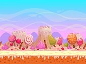 stock photo of ice-cake  - Seamless vector landscape with layers for parallax effect - JPG