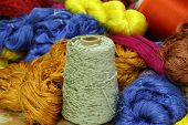 picture of silk worm  - Colorful raw silk thread in the silk farm - JPG