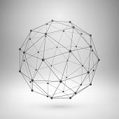 stock photo of dots  - Wireframe mesh polygonal element - JPG