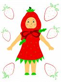 picture of matinee  - Cute little girl in a beautiful dress like strawberries - JPG