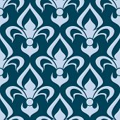 image of motif  - Arabesque seamless pattern with a stylized fleur de lys repeat motif in blue in a square format - JPG