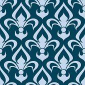 picture of fleur de lis  - Arabesque seamless pattern with a stylized fleur de lys repeat motif in blue in a square format - JPG
