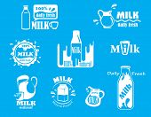 foto of milk  - Dairy and milk vector icons for fresh product design on turquoise blue with various text and designs all incorporating the word Milk and various containers - JPG