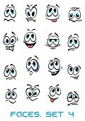 stock photo of angry smiley  - Cartoon faces set with different emotions as happy - JPG