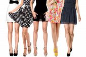 image of slender legs  - Sexy long legs of women group isolated on white background - JPG