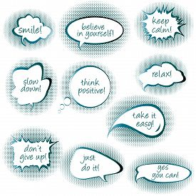 foto of bubble sheet  - Set of chat bubbles with motivational and positive thinking messages - JPG