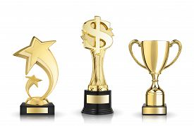 foto of trophy  - Cup trophy star award and dollar sign trophy - JPG