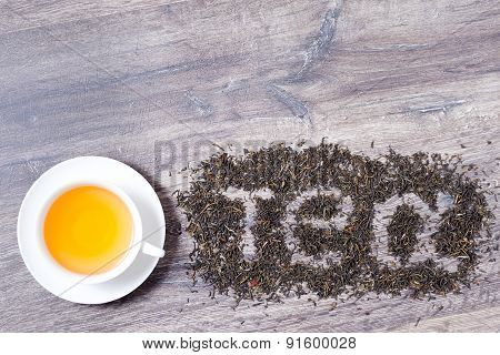 Tea Word Made Of Green Tea Leaves