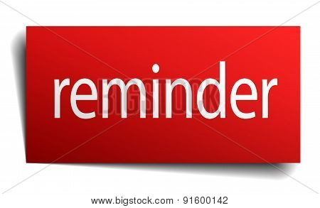 Reminder Red Paper Sign On White Background
