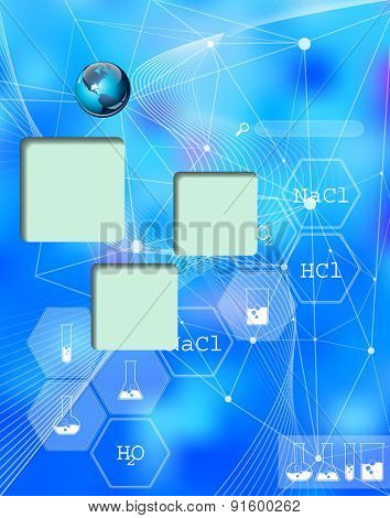 Chemical. Web and mobile interface infographic template. Flat corporate website design. Multifunctional media background. Editable. Options, Icon, Banner. Chemistry and science concept.
