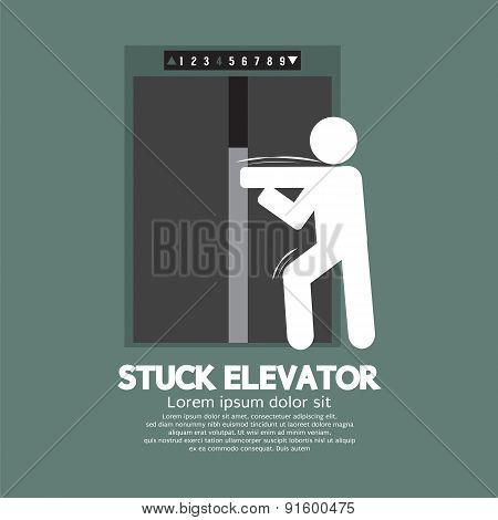 Stuck Elevator Symbol Graphic Symbol.