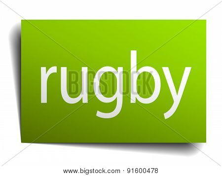 Rugby Square Paper Sign Isolated On White