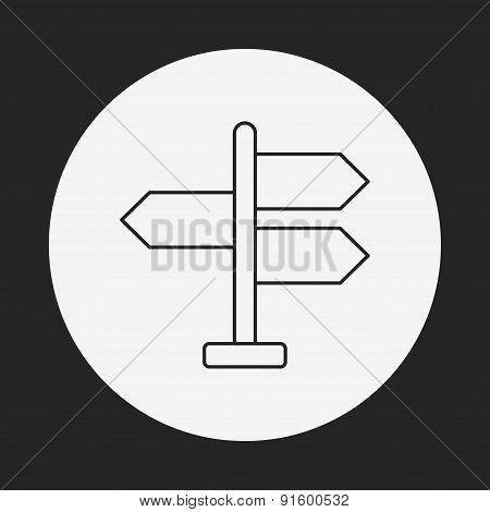Signpost Line Icon