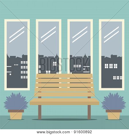 Wooden Chair With Four Glasses Windows.