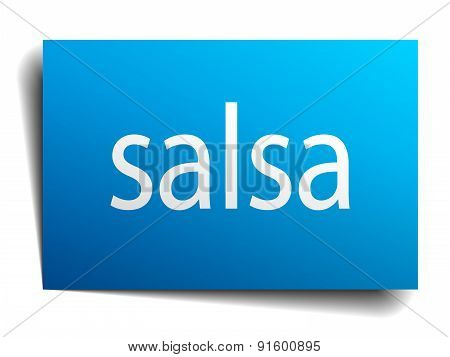 Salsa Blue Paper Sign On White Background