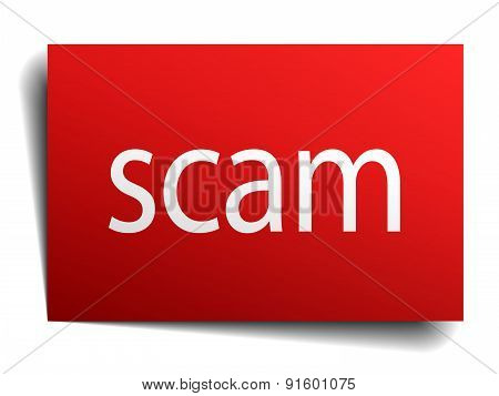 Scam Red Paper Sign Isolated On White