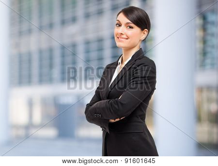 Smiling businesswoman outdoor