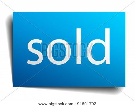 Sold Blue Paper Sign On White Background