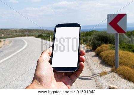 Hand Holding Smart Phone On Travel