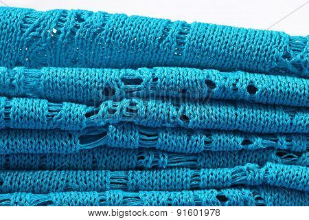 Stack Of Blue Knitted Closeup