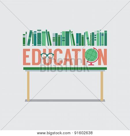 Books, Eyeglasses And Desk Globe On Table Education Concept.