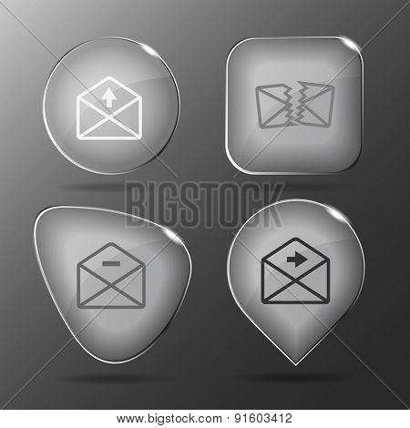 Mail set. Glass buttons. Vector illustration.