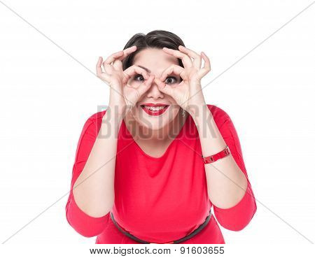 Beautiful Plus Size Woman Gesturing Glasses With Her Hands