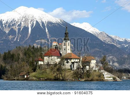 Island Of Lake Bled In Slovenia And The Snowy Mountains