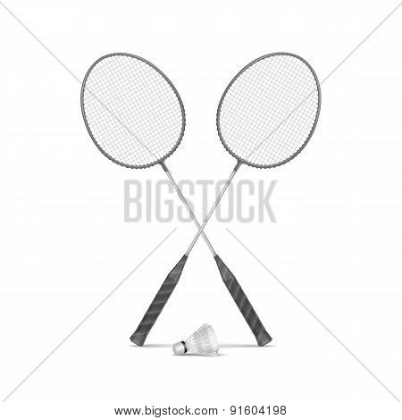 Vector Badminton Rackets with Shuttlecock