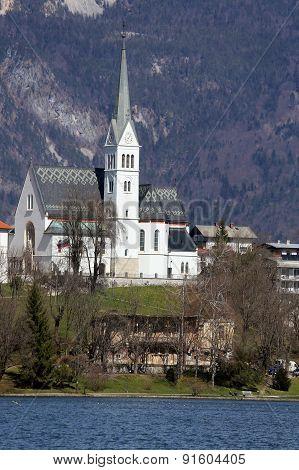 Church Near Lake Bled In Slovenia In Eastern Europe