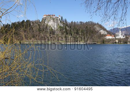 Ancient Castle On The Hill Near The Lake Bled