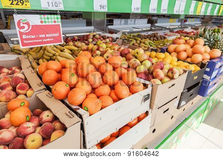 Fresh Fruits And Vegetables Ready For Sale In The Supermarket Pyaterochka