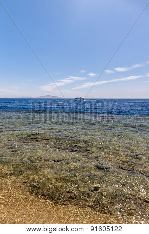 Panorama of the beach at reef, Sharm el Sheikh