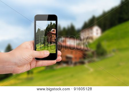 Smart Phone Focused On Landscape Of Ayder Plateau