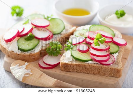 healthy sandwich with radish cucumber and cream cheese