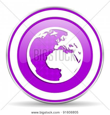 earth violet icon world sign