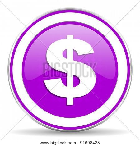 dollar violet icon us dollar sign