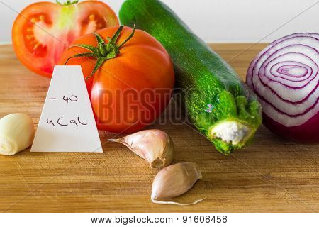 Negative-calories food; vegetables close up, shallow depth of field